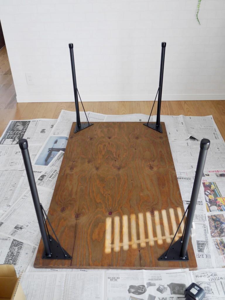 ダイニングテーブル カフェ風 DIY ワトコオイル アイアン脚