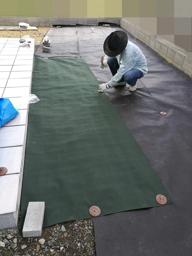 DIY 防草シート 瓦チップ 瓦砂利 庭